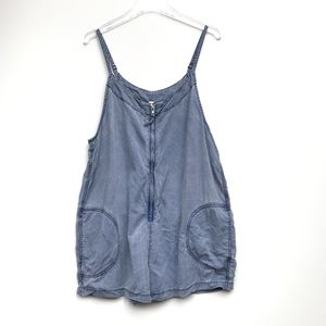 Free People Wainwright Chambray Romper Blue Large